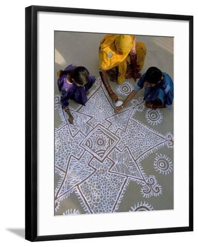 Women Painting a Mandana on the Ground, Village Near Jodhpur, Rajasthan State, India-Bruno Morandi-Framed Art Print