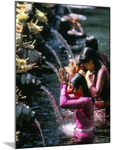 Young Women at Tirta Empul Temple, Ubud Region, Island of Bali, Indonesia, Southeast Asia-Bruno Morandi-Mounted Photographic Print