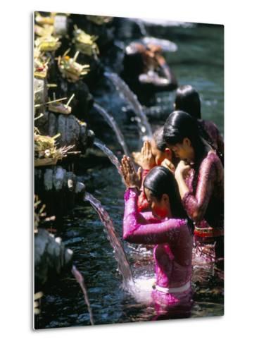 Young Women at Tirta Empul Temple, Ubud Region, Island of Bali, Indonesia, Southeast Asia-Bruno Morandi-Metal Print