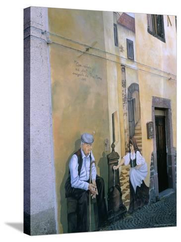 Murals in the Village of Tinura, Bosa Region, Island of Sardinia, Italy, Mediterranean-Bruno Morandi-Stretched Canvas Print