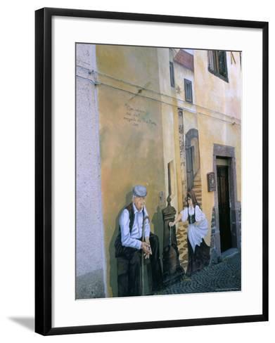Murals in the Village of Tinura, Bosa Region, Island of Sardinia, Italy, Mediterranean-Bruno Morandi-Framed Art Print