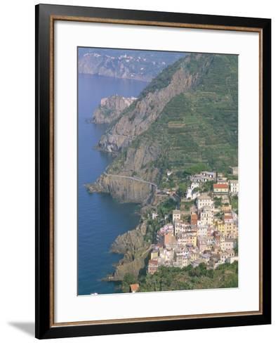 View Over Village of Riomaggiore, Cinque Terre, Unesco World Heritage Site, Liguria, Italy-Bruno Morandi-Framed Art Print
