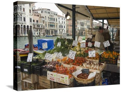 Fruit and Vegetable Stall at Canal Side Market, Venice, Veneto, Italy-Christian Kober-Stretched Canvas Print