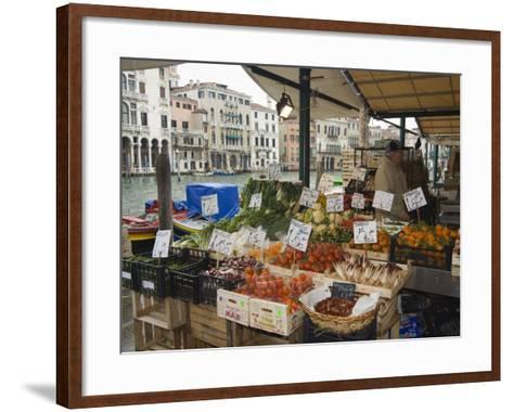 Fruit and Vegetable Stall at Canal Side Market, Venice, Veneto, Italy-Christian Kober-Framed Art Print
