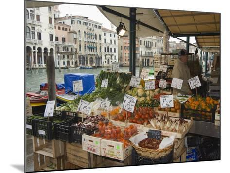 Fruit and Vegetable Stall at Canal Side Market, Venice, Veneto, Italy-Christian Kober-Mounted Photographic Print