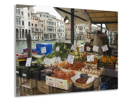 Fruit and Vegetable Stall at Canal Side Market, Venice, Veneto, Italy-Christian Kober-Metal Print