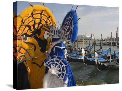 Masked Faces and Costume at the Venice Carnival, Venice, Italy-Christian Kober-Stretched Canvas Print