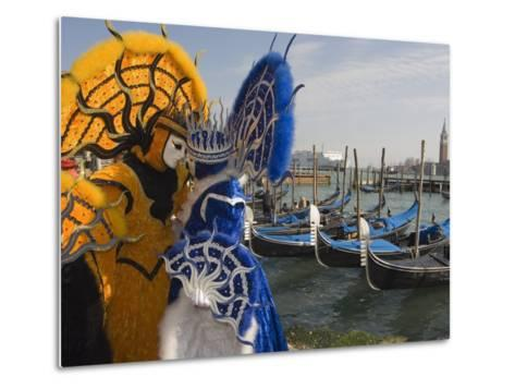 Masked Faces and Costume at the Venice Carnival, Venice, Italy-Christian Kober-Metal Print