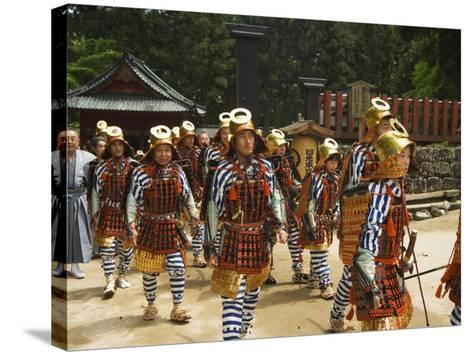 Men in Traditional Samurai Costume, Toshogu Shrine, Tochigi Prefecture, Japan-Christian Kober-Stretched Canvas Print