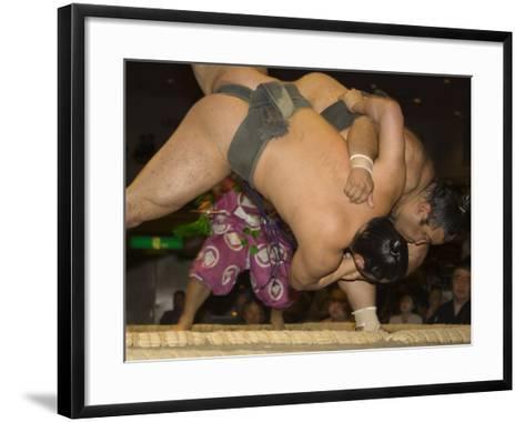 Sumo Wrestlers Competing, Grand Taikai Sumo Wrestling Tournament, Kokugikan Hall Stadium, Tokyo-Christian Kober-Framed Art Print