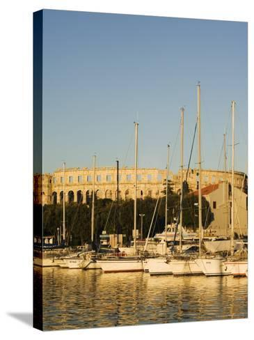 Afternoon Light on Harbour Yachts, and 1st Century Roman Amphitheatre, Pula, Istria Coast, Croatia-Christian Kober-Stretched Canvas Print