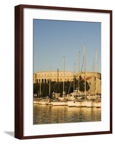 Afternoon Light on Harbour Yachts, and 1st Century Roman Amphitheatre, Pula, Istria Coast, Croatia-Christian Kober-Framed Art Print