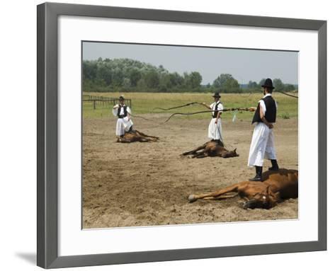 Hungarian Cowboy Horse Show, Bugaci Town, Kiskunsagi National Park, Hungary-Christian Kober-Framed Art Print