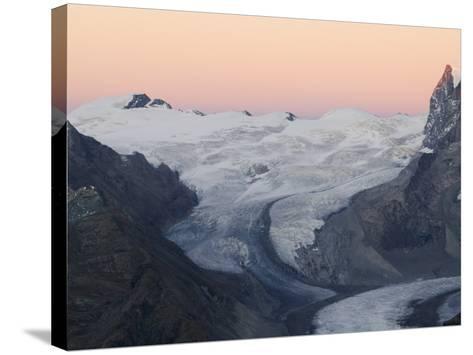 Monte Rosa Glacier at Dusk, Zermatt Alpine Resort, Valais, Switzerland-Christian Kober-Stretched Canvas Print