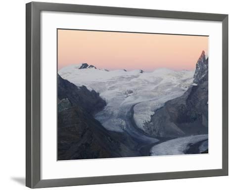 Monte Rosa Glacier at Dusk, Zermatt Alpine Resort, Valais, Switzerland-Christian Kober-Framed Art Print
