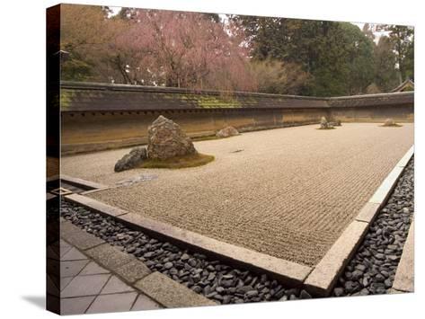Ryoanji Temple, Dry Stone Garden and Blossom, Kyoto City, Honshu Island, Japan-Christian Kober-Stretched Canvas Print