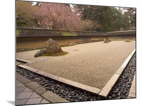 Ryoanji Temple, Dry Stone Garden and Blossom, Kyoto City, Honshu Island, Japan-Christian Kober-Mounted Photographic Print