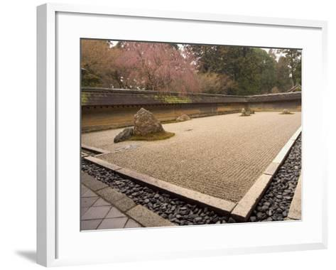 Ryoanji Temple, Dry Stone Garden and Blossom, Kyoto City, Honshu Island, Japan-Christian Kober-Framed Art Print