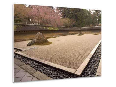 Ryoanji Temple, Dry Stone Garden and Blossom, Kyoto City, Honshu Island, Japan-Christian Kober-Metal Print