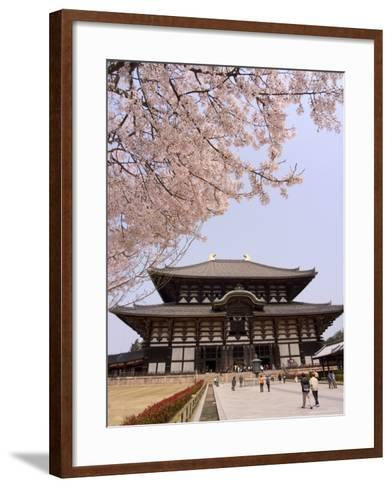 Cherry Blossoms, the Great Buddha Hall, Todaiji Temple, Nara, Honshu Island, Japan-Christian Kober-Framed Art Print