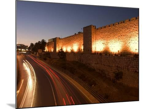 Night Time Lights of Traffic, Jaffa Gate, Old Walled City, Jerusalem, Israel, Middle East-Christian Kober-Mounted Photographic Print