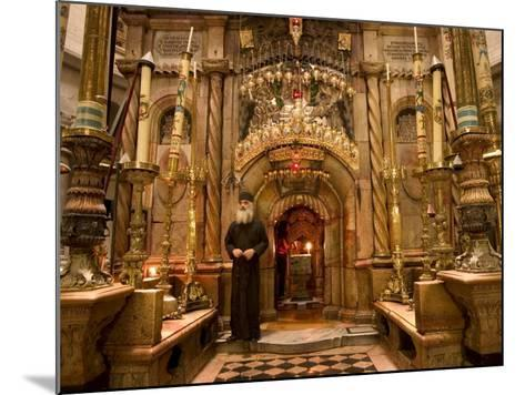 Priest at Tomb of Jesus Christ, Church of Holy Sepulchre, Old Walled City, Jerusalem, Israel-Christian Kober-Mounted Photographic Print