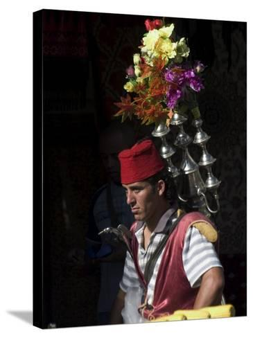Man Selling Tea in Traditional Costume, Old Walled City, Jerusalem, Israel, Middle East-Christian Kober-Stretched Canvas Print