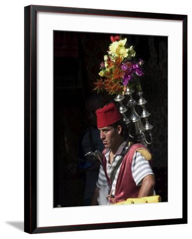 Man Selling Tea in Traditional Costume, Old Walled City, Jerusalem, Israel, Middle East-Christian Kober-Framed Art Print
