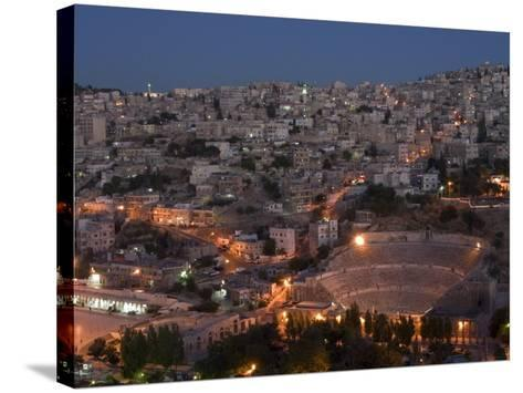 Roman Theatre at Night, Amman, Jordan, Middle East-Christian Kober-Stretched Canvas Print