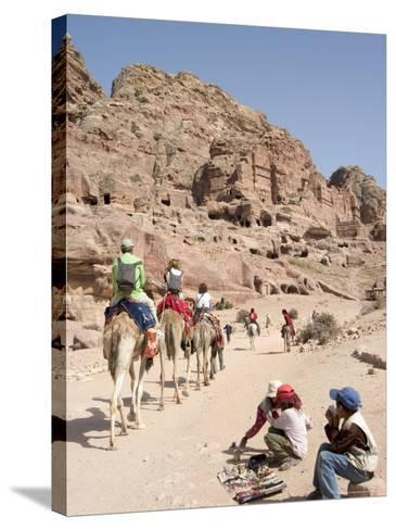 Tourist on Camels in Petra, Unesco World Heritage Site, Wadi Musa (Mousa), Jordan, Middle East-Christian Kober-Stretched Canvas Print