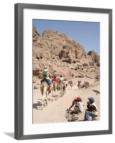 Tourist on Camels in Petra, Unesco World Heritage Site, Wadi Musa (Mousa), Jordan, Middle East-Christian Kober-Framed Art Print