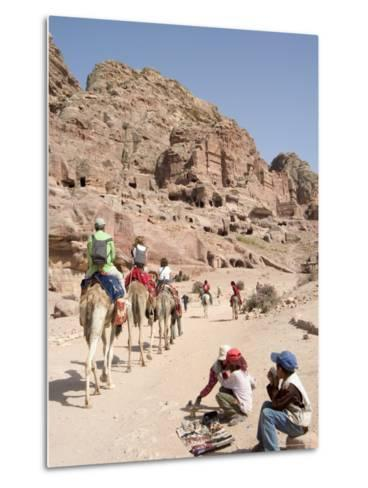 Tourist on Camels in Petra, Unesco World Heritage Site, Wadi Musa (Mousa), Jordan, Middle East-Christian Kober-Metal Print