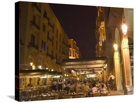 Street Side Cafe Area, Place d'Etoile (Nejmeh Square) at Night, Downtown, Beirut, Lebanon-Christian Kober-Stretched Canvas Print