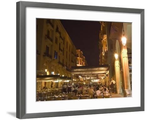 Street Side Cafe Area, Place d'Etoile (Nejmeh Square) at Night, Downtown, Beirut, Lebanon-Christian Kober-Framed Art Print