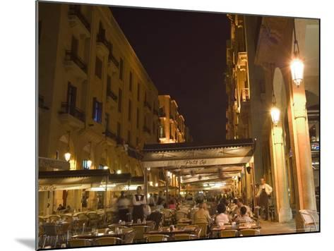Street Side Cafe Area, Place d'Etoile (Nejmeh Square) at Night, Downtown, Beirut, Lebanon-Christian Kober-Mounted Photographic Print
