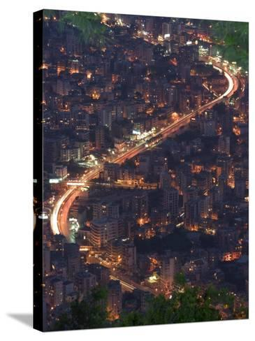 City and Car Lights of Jounieh, Near Beirut, Lebanon, Middle East-Christian Kober-Stretched Canvas Print