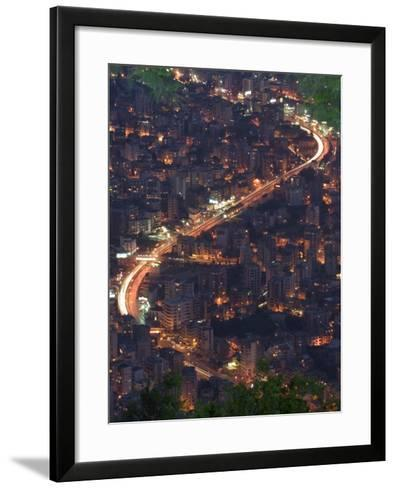 City and Car Lights of Jounieh, Near Beirut, Lebanon, Middle East-Christian Kober-Framed Art Print