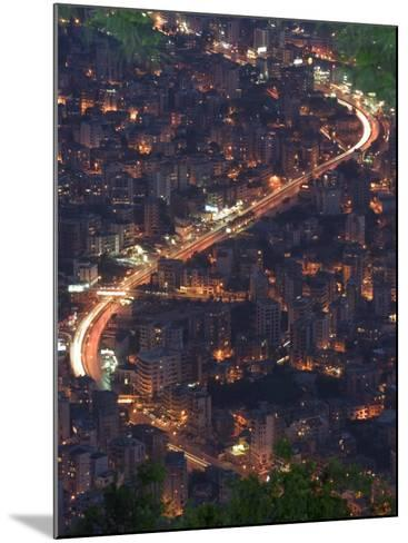 City and Car Lights of Jounieh, Near Beirut, Lebanon, Middle East-Christian Kober-Mounted Photographic Print