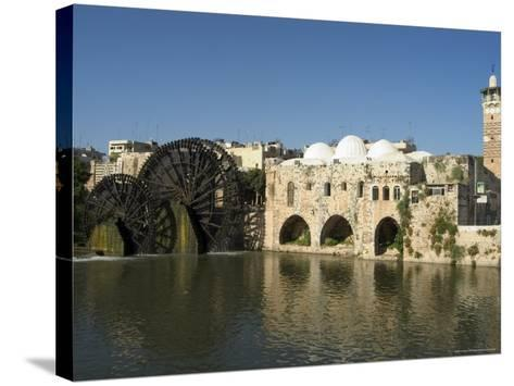 Mosque and Water Wheels on the Orontes River, Hama, Syria, Middle East-Christian Kober-Stretched Canvas Print