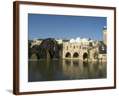 Mosque and Water Wheels on the Orontes River, Hama, Syria, Middle East-Christian Kober-Framed Art Print