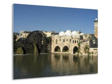 Mosque and Water Wheels on the Orontes River, Hama, Syria, Middle East-Christian Kober-Metal Print