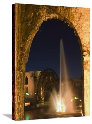 Fountain and Water Wheel on the Orontes River at Night, Hama, Syria, Middle East-Christian Kober-Stretched Canvas Print
