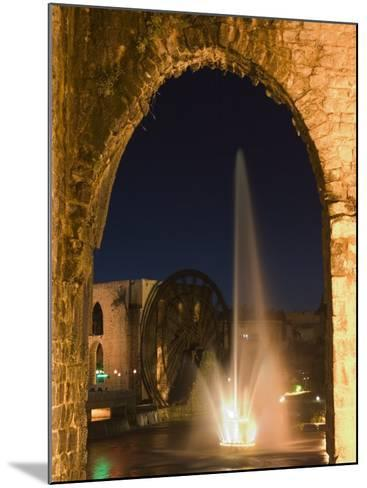 Fountain and Water Wheel on the Orontes River at Night, Hama, Syria, Middle East-Christian Kober-Mounted Photographic Print