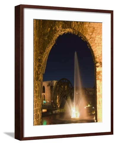 Fountain and Water Wheel on the Orontes River at Night, Hama, Syria, Middle East-Christian Kober-Framed Art Print