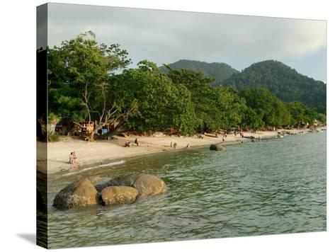 Tourists Enjoying Nipah Beach at Sunset Time, Pangkor Island, Perak State, Malaysia-Richard Nebesky-Stretched Canvas Print