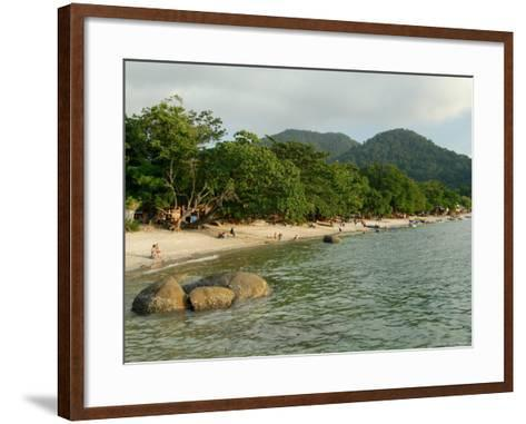 Tourists Enjoying Nipah Beach at Sunset Time, Pangkor Island, Perak State, Malaysia-Richard Nebesky-Framed Art Print