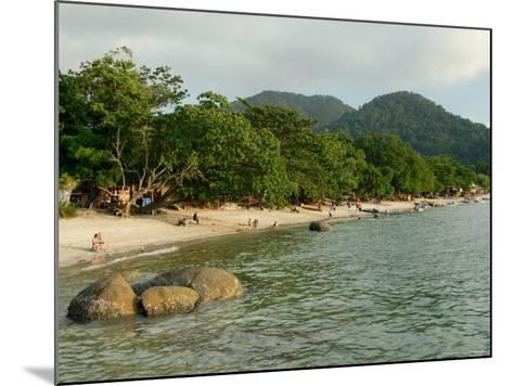 Tourists Enjoying Nipah Beach at Sunset Time, Pangkor Island, Perak State, Malaysia-Richard Nebesky-Mounted Photographic Print
