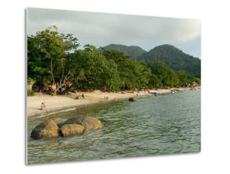 Tourists Enjoying Nipah Beach at Sunset Time, Pangkor Island, Perak State, Malaysia-Richard Nebesky-Metal Print