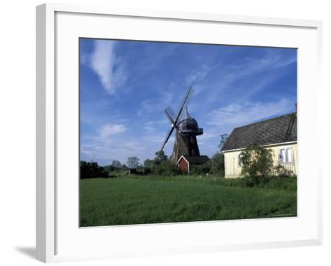 Landscape with Wooden Windmill and Two Houses in the Village of Kvarnbacken, Oland Island, Sweden-Richard Nebesky-Framed Art Print