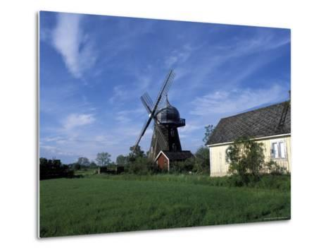 Landscape with Wooden Windmill and Two Houses in the Village of Kvarnbacken, Oland Island, Sweden-Richard Nebesky-Metal Print
